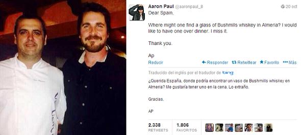 La cena de Bale en El Ejido y la broma de Aaron Paul