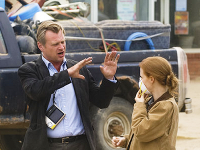 Christopher Nolan y Jessica Chastain en el rodaje de 'Interstellar'