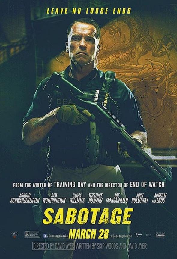 Póster de 'Sabotage' con Arnold Schwarzenegger
