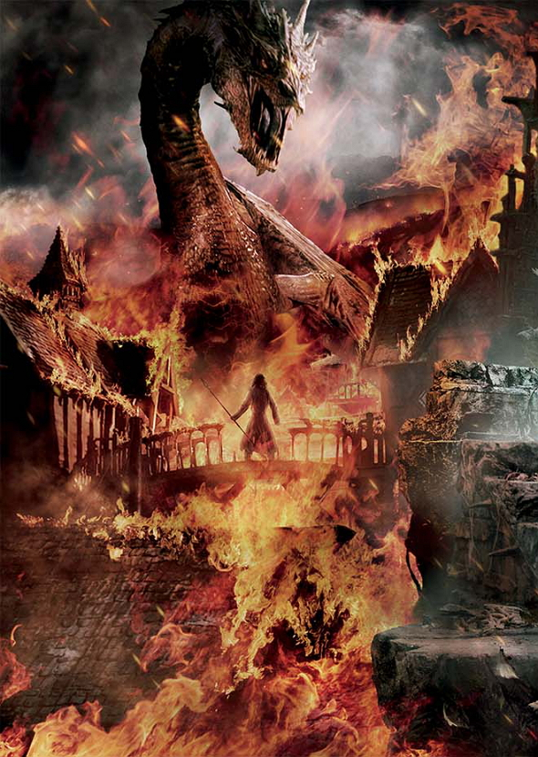 Bardo contra Smaug en el póster de El Hobbit: La batalla de los cinco ejércitos (The Hobbit: The battle of the five armies)